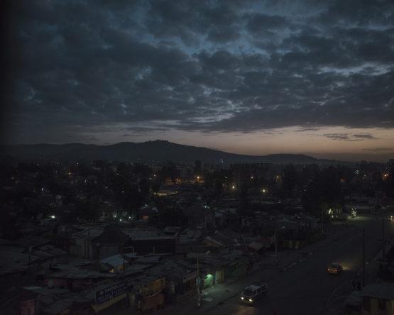 Addis Ababa, Ethiopia, February 2016 - The city at dawn seen from the Jupiter Hotel.  ><   Addis Abeba, Etiopia, febbraio 2016 - Veduta della città all'alba dallo Jupiter Hotel.
